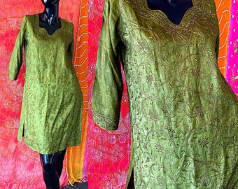 India Dress India Silk Dress Fabindia Silk Embroidered Tunic Caftan Vintage Silk Embroidered Caftan