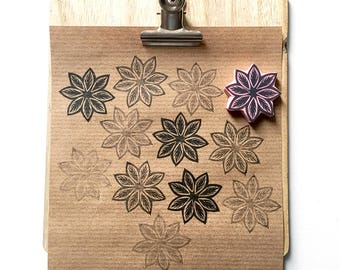 Mandala rubber stamp, leaf mandala, hand carved stamp, organic mandala