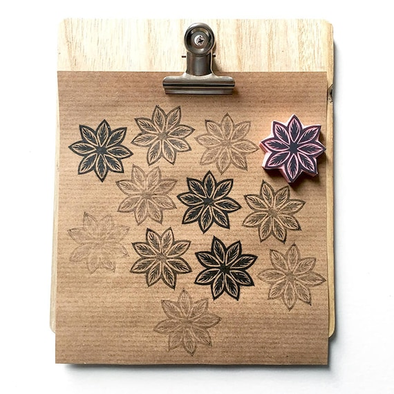 Mandala rubber stamp leaf hand carved
