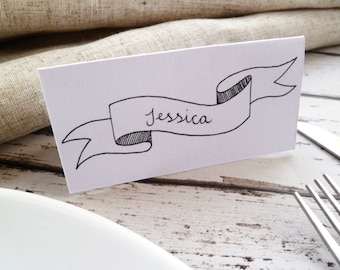 Hand-drawn Vintage Banner Place Cards // Table Decor // Pack of 8