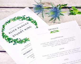 Eternal Elegance Wedding Invitation Set | White Floral Wreath Wedding Invite | Sample Invitation