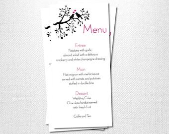 Rustic Birds Wedding ~ Dinner Menu ~ Printable Dinner Menu ~ Digital Wedding Menu ~ Reception Menu ~ Wedding Dinner Menu ~ Black Dinner Menu