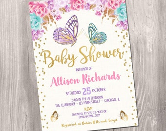 Butterfly Baby Shower Invitation, Butterfly Invitation, Watercolor Floral  Boho, Fairy Baby Shower Invitation