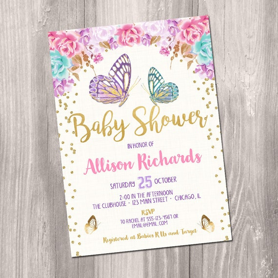 Butterfly Baby Shower Invitation Butterfly Invitation