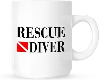 Rescue Diver Coffee Mug - Fire Department, Police Dept, Public Safety Scuba Divers