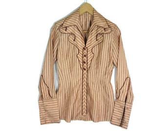 Vintage 1950s Womens Rockabilly Western Shirt - Small - Zip up - 50s Clothing - Vintage Clothing - Western Clothing - Tailored -
