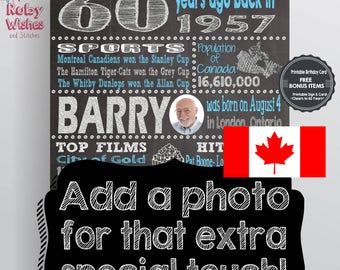 Personalized 60th Birthday 1957 Chalkboard Printable- Canadian