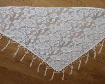 Polish Cream beige Lace Shawl Fringes flowers Disco era Shoulder Wrap Soviet Triangle Shawl Evening Wrap Shawl Boho Chic Shawl Wedding Scarf