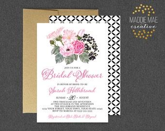 Pink & Black Bridal Shower Invitation, Pink Floral Bridal Shower Invitation, Bridal Tea, Bridal Luncheon, Bridal Brunch, Lingerie Shower