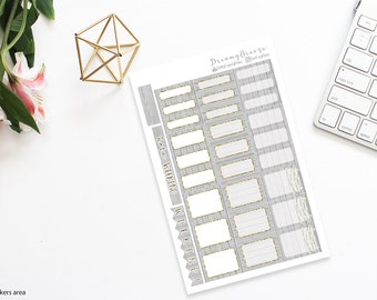 Gray Wood with Gold | Half boxes & Labels | Printable Planner Stickers | Happy Planner
