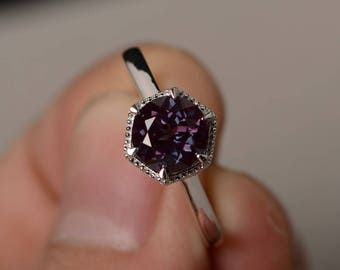 Lab Alexandrite Ring Round Cut Engagement Ring Silver Gemstone Ring
