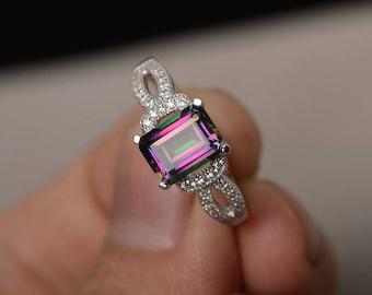 Emerald Cut Mystic Topaz Ring Sterling Silver Ring Rainbow Topaz Rings Women