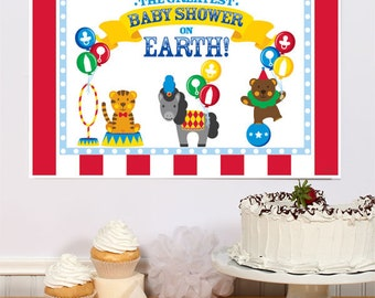 13 x 19 inch Baby Shower Poster - Carnival - Circus Theme - Greatest Baby Shower On Earth!