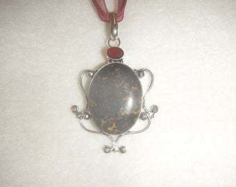 Black Copper Turquoise (Magnesite) with Red Garnet Accent pendant necklace (P598)