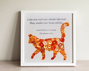 Cat Button Art ~ Cat Wall Art ~ Cat Wall Decor ~Cat Lover Gift~Pet Gift ~Button Art~Cat Quote~Cat Gifts~ I like Cats~Cats are not our whole