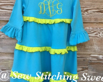 Girls Monogramned Ruffle dress, personalized dress, girls monogrammed dress, knit dress, ruffle dress, girls party dress, Monogrammed dress