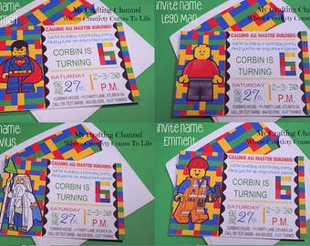 Lego Birthday Invitations #1 (9 Different Characters to Choose From) With Matching Envelopes-Invites-Invitations-Birthday-Lego
