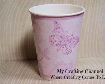 Purple Butterflies #1 Birthday Party Cups-Purple Butterflies-Butterflies--Party Birthday Cups-Party-Birthday-Cups