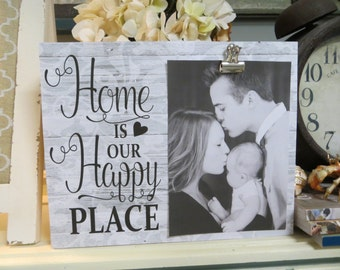 """Wood Picture Frame, """"Home is Our Happy Place"""", Family Photo Frame, Custom Family Picture Frame"""
