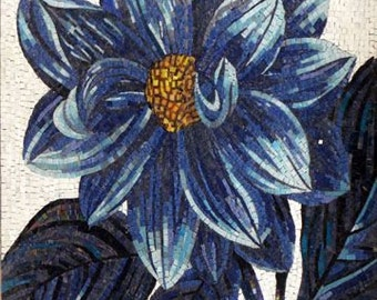 Blue Flower Glass Mosaic