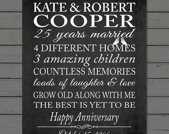 25th ANNIVERSARY LOVE STORY Art, Silver Anniversary, Parents 25th Anniversary Gift Print, Anniversary Typography Print, Marriage Stats
