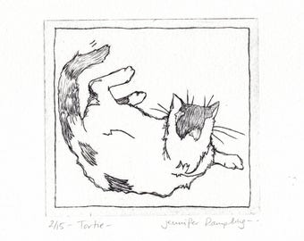 Tortie - Drypoint Etching of a Cat
