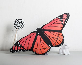 Butterfly Cushion, Pretty Cushion, Pink and Orange Butterfly, Insect Decor, Greenery Interiors, Conservatory Cushion