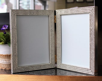 Pyramid Double Hinged Frames, Hand Gilded Gold & Silver,Wedding Frames,White andBlackPyramid Power,CustomFrames, Unique Double Photo Frames