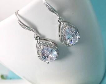Crystal Bridal Earrings Bridal Jewelry Drop Crystal Earrings