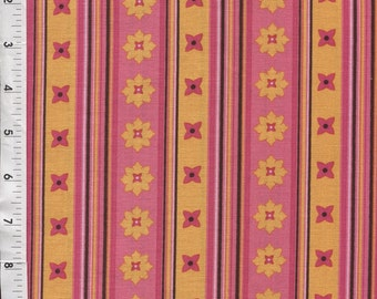 """Michael Miller Patty Young """"Flowery Stripe"""" Candy Pink Fabric"""
