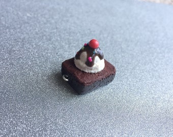 Brownie Charm Necklace Polymer Clay Charm Brownies