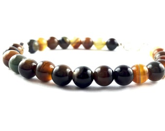 Bracelet brown striped Agate and 925 sterling Silver HAMMAKER
