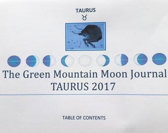 The Green Mountain Moon Journal, TAURUS 2017, Moon Cycle, Beltane, May Day, Summer, Intuitive writing, Expressive writing, instant download