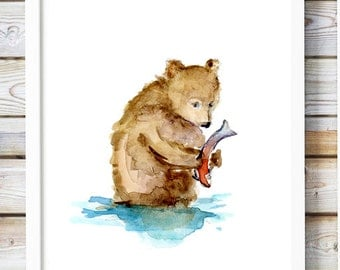 Baby bear art  - grizzly bear fishing painting - print - bear cub in river - young brown bear watercolor - bear illustration - dujardin