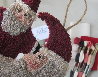 Punch Needle KIT ~ Santa Ornaments ~ Star Santa ~ Moon Santa ~ punchneedle Kit ~ needle punch Kit ~ Christmas Punch Needle