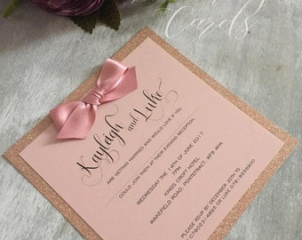 Rose gold invite Etsy