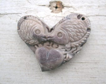 Heart with Fish carving, Jasper carved fishes, 2 fish, heart between them, carved on a heart shape,, hole in one corner, carved pendant bead