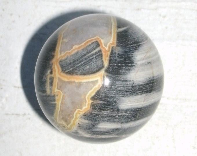 Silver Leaf Jasper Sphere, pocket stone, round, polished, Jasper sphere, meditation stone, semi precious, includesrosewood stand, gift