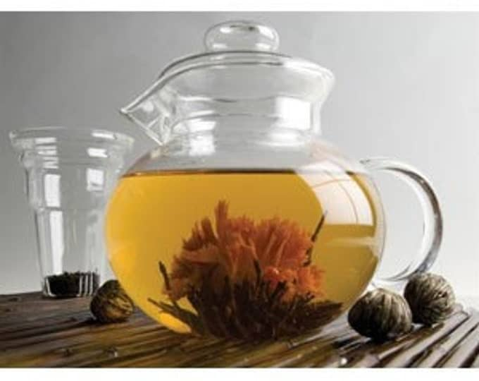 ONLY 2 LEFT   Glass Tea Pot with Flowering Tea Samples