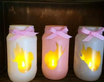Sleeping beauty fairies set of 3 Jarlight pink lantern spa light candle holder pink handmade painted mermaid lights cute candle vintage love