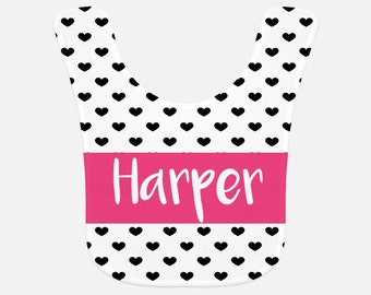 Personalized baby bib with hearts, custom bib, PICK YOUR COLOR!