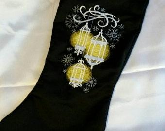 Christmas stocking glowing lanterns embroidered design on  black satin handmade