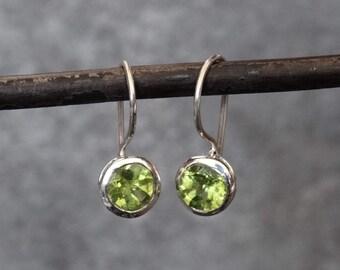 Peridot Earrings, Peridot Drops, Silver Drop Earrings, Silver and Peridot, August Birthstone, Faceted Peridot, Sterling Silver