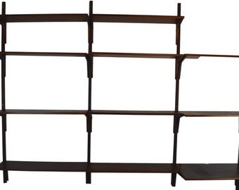 3 Bay Rosewood Shelving Unit With 12 Shelves