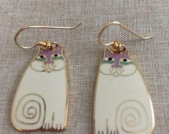 """Laurel Burch """"OLIVIA"""" Cream and Lavender Dangle Earrings"""