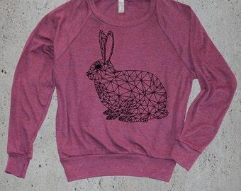 Womens Geometric BUNNY RABBIT Sweatshirt Sweater )Raglan Sweatshirt,Animal-Womens Clothing-Yoga Clothes,Tumblr Sweater-Birthday Gift Gifts