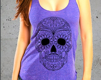 Womens SUGAR SKULL T Shirt)Skull Clothing-Girlfriend Gifts Tank Top-College Student Gift-American Apparel graphic-Birthday Gift Gifts