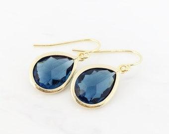 Blue Gold Teardrop Earrings, Bridesmaid Jewelry, Bridesmaid Gift Jewelry, Bridesmaid Earrings, Blue Drop Bridesmaid Earrings, Blue Dangle