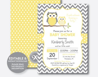 Instant Download, Editable Owl Baby Shower Invitation, Yellow Owl Invitation, Boy Girl Baby Shower, Baby Sprinkle, Yellow Chevron (SBS.45)