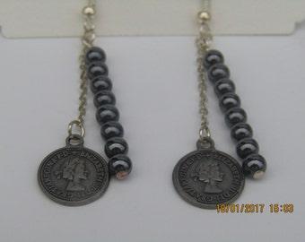 Ladies Coin/Hematite Earrings,hematite earrings,drop earrings,handmade earrings,gunmetal earrings,artizan earrings,pierced earrings,